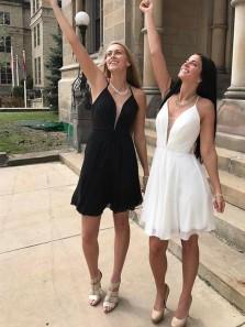 Simple A Line V Neck White and Black Short Homecoming Dresses Under 100, Little Black Dresses, Prom Dresses