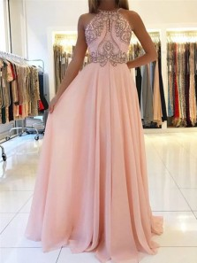 Gorgeous A Line Halter Backless Pink Chiffon Beaded Long Prom Dresses, Sparkly Evening Party Dresses