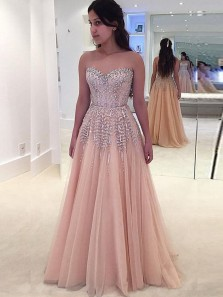 Luxurious A Line Sweetheart Backless Tulle Peach Beaded Long Prom Dresses, Gorgeous Evening Dresses