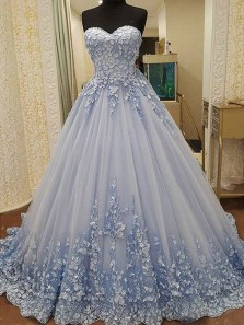 Gorgeous Ball Gown Sweetheart Light Blue Lace Long Prom Dresses with Appliques, Luxurious Quinceanera Dresses