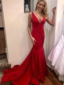 Charming Mermaid V Neck Open Back Red Long Prom Dresses, Elegant Evening Party Dresses