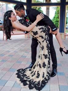 Charming Mermaid Sweetheart Open Back Split Black Lace Long Prom Dresses, Evening Dresses