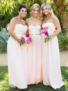 Simple Sheath Sweetheart Pink Long Bridesmaid Dresses Under 100