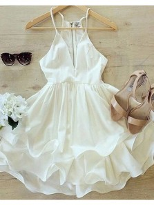 Cute A Line Spaghetti Straps Chiffon Ivory Short Homecoming Dresses Under 100, Simple Short Party Dresses