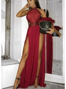 Charming Mermaid Halter Open Back Split Burgundy Lace Long Prom Dresses, Formal Party Evening Dresses PD1007002