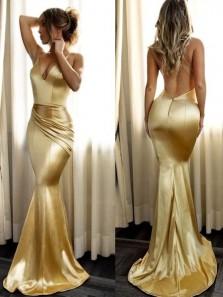 Gorgeous Mermaid V Neck Spaghetti Straps Gold Satin Long Prom Dresses, Party Dresses