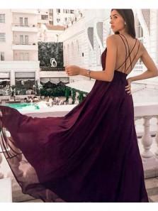 Simple A Line V Neck Cross Back Split Burgundy Long Prom Dresses Under 100, Evening Party Dresses PD1007005