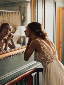 Gorgeous A Line V Neck Open Back Ivory Chiffon Long Wedding Dresses with Beading