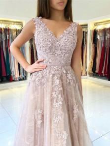Elegant A Line V Neck Open Back Pink Lace Long Prom Dresses, Elegant Evening Dresses with Appliques