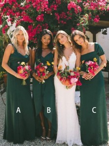 Elegant Sheath Sweetheart Chiffon Dark Green Long Bridesmaid Dresses Under 100