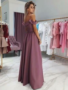 Charming A Line Off the Shoulder Spaghetti Straps Grape Long Prom Dresses, Elegant Evening Party Dresses