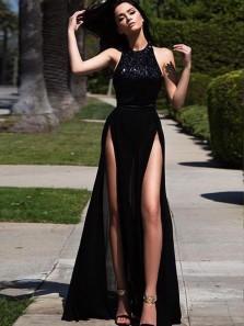 Charming A Line Halter Open Back Split Black Sequins Long Prom Dresses, Sexy Evening Dresses