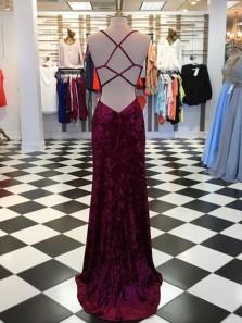 Charming Mermaid Spaghetti Straps Cross Back Split Velvet Burgundy Long Prom Dresses, Sexy Evening Party Dresses