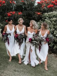Elegant Sheath V Neck Open Back Side Split White Chiffon Tea Length Bridesmaid Dresses Under 100 BD1009002
