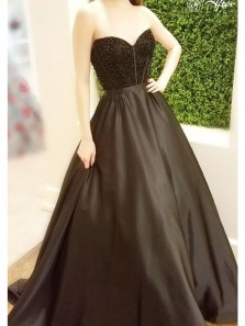 Gorgeous & Vintage Ball Gown Sweetheart Open Back Black Long Prom Dresses with Beading, Charming Evening Dresses