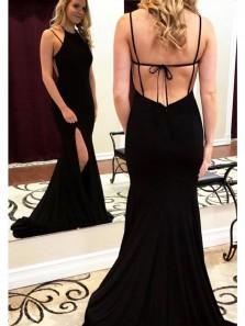 Charming Mermaid Halter Cross Back Split Black Long Prom Dresses, Sexy Evening Party Dresses