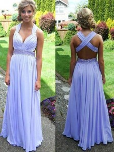 Charming A Line V Neck Cross Back Chiffon Lavender Long Prom Dresses with Beading, Formal Evening Dresses