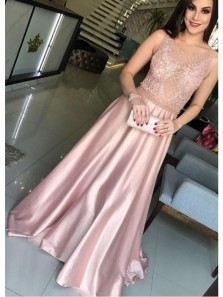 Elegant A Line Round Neck Blush Pink Lace Long Prom Dresses with Beading, Formal Evening Dresses