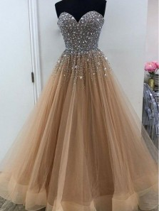 Sparkly Ball Gown Sweetheart Open Back Brown Beaded Long Prom Dresses, Gorgeous Evening Dresses