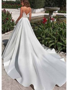 Gorgeous Ball Gown Open Back Spaghetti Straps Ivory Satin Lace Long Wedding Dresses