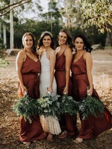 Simple Sheath V Neck Brown Satin Long Bridesmaid Dresses
