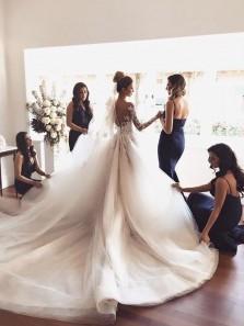Charming Mermaid Sweetheart Spaghetti Straps Navy Elasitc Satin Long Bridesmaid Dresses Under 100
