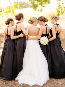 Elegant A Line V Neck Black Satin Long Bridesmaid Dresses