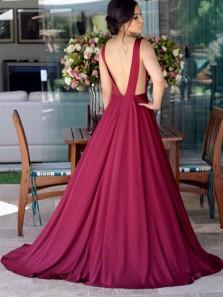 Charming A Line V Neck Open Back Satin Wine Long Prom Dresses, Elegant Evening Dresses