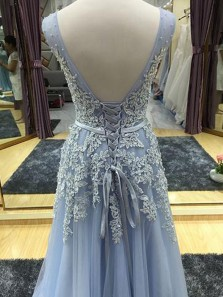 Gorgeous A Line V Neck Open Back Light Blue Lace Long Prom Dresses with Appliques, Elegant Evening Dresses with Beading