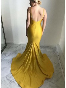 Gorgeous Mermaid V Neck Open Back Yellow Elastic Satin Long Prom Dresses, Sexy Evening Party Dresses