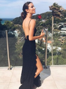 Sexy Mermaid V Neck Spaghetti Straps Backless Split Black Lace Long Prom Dresses, Simple Evening Party Dresses PD1012001