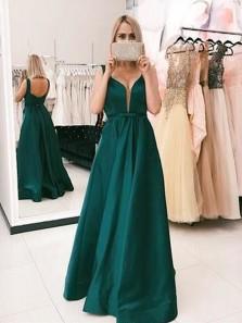Charming A Line V Neck Open Back Dark Green Long Prom Dresses, Elegant Evening Party Dresses