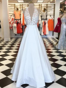 Charming Ball Gown V Neck Halter Open Back White Satin Lace Long Prom Dresses, Elegant Evening Dresses