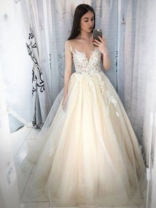 Charming Ball Gown V Neck Open Back Champagne Lace Long Prom Dresses with Appliques, Elegant Evening Dresses
