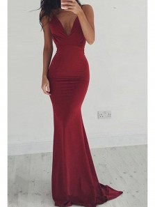 Simple Mermaid V Neck Backless Burgundy Long Prom Dresses Under 100, Sexy Evening Party Dresses