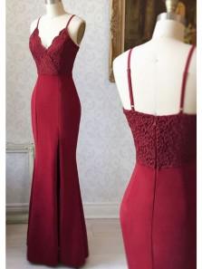 Gorgeous Mermaid V Neck Spaghetti Straps Wine Split Lace Long Prom Dresses, Elegant Evening Party Dresses