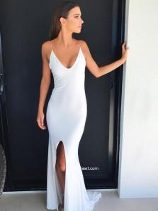Charming Mermaid V Neck Spaghetti Straps Split Cross Back White Long Prom Dresses Under 100, Sexy Evening Party Dresses