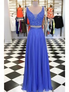 Charming A Line Two Piece V Neck Open Back Blue Long Prom Dresses with Beading, Formal Evening Party Dresses
