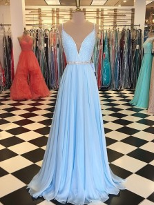 Gorgeous A Line V Neck Open Back Spaghetti Straps Light Blue Long Prom Dresses with Beading, Formal Evening Dresses