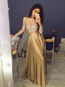 Charming A Line Two Piece Round Neck Long Sleeves Lace Champagne Long Prom Dresses, Elegant Evening Party Dresses