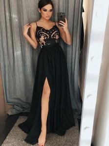 Charming A Line V Neck Spaghetti Straps Split Black Lace Long Prom Dresses, Little Black Dresses, Black Evening Party Dresses PD1018004