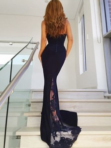 Charming Mermaid Halter Open Back Navy Lace Long Prom Dresses with Train, Elegant Evening Dresses