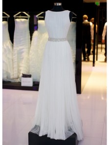 Elegant A Line Scoop Neck Chiffon White Long Prom Dresses with Beading, Formal Evening Dresses