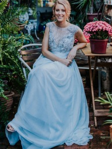 Charming A Line Round Neck Open Back Cap Sleeves Fairy Light Blue Wedding Dresses with Lace