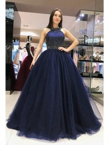Gorgeous Ball Gown Round Neck Cross Back Navy Blue Long Prom Dresses with Beading, Quinceanera Dresses