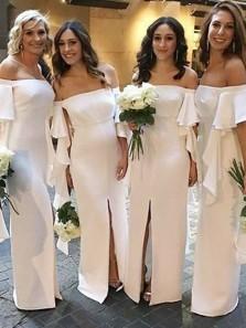Charming Sheath Off the Shoulder White Elastic Satin Split Long Bridesmaid Dresses