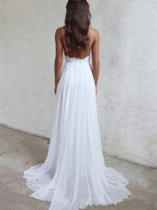 Charming A Line Sweetheart Spaghetti Straps Backless Chiffon White Wedding Dresses with Lace, Fairy Beach Wedding Dresses WD0723002