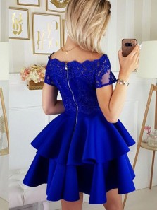 Cute A Line Off the Shoulder Royal Blue Satin Lace Short Homecoming Dresses, Tiered Gown Short Sleeves Prom Dresses