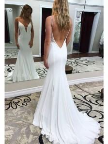 Charming Mermaid V Neck Open Back Elastic Satin White Long Prom Dresses with Train, Elegant Evening Dresses