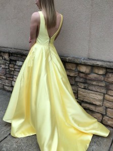 Charming Ball Gown V Neck Open Back Yellow Satin Long Prom Dresses with Pockets, Formal Elegant Evening Dresses PD1018015